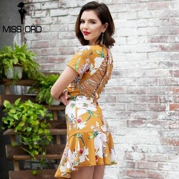 Missord 2017 sexy o-cuello de manga corta impresión cruzada mini dress ft8117