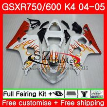 Bodys For SUZUKI GSXR 600 R600 GSXR 750 04 05 K4 GSX-R750 3SH22 Orange flames GSX-R600 GSXR750 04 05 GSXR600 2004 2005 Fairing(China)