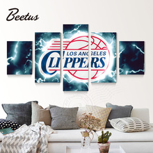 5 panel Wall Art Sport Logo Poster Los Angeles Clippers Basketball Game Cuadros Decoraction Wall Picture For Kitchen Unframed(China)