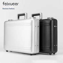 feixueer Luxury Aluminium Magnesium Alloy Briefcase 14 inch Business Laptop Case Cash Password Toolbox Silver Suitcase for Men(China)