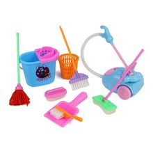 9Pcs/set Girl House Cleaning Funny Vacuum Mop Broom Tools Pretend Play Toy Cleaning Kit For Dolls Accessories(China)