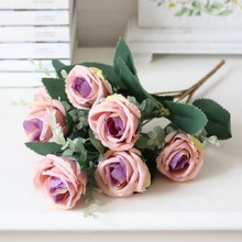 DIY Artificial Flower Wedding Decoration Flores Fake Flowers Rose Single bundle of flower living room dining table decorative