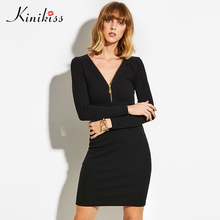 Buy Kinikiss Zipper V Neck Knit Dress Women Sheath Fashion Long Sleeve Office Lady Sexy Dresses Bodycon Knitted Sweater Zip Dress for $16.12 in AliExpress store