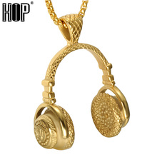 HIP Punk Gold Color Titanium Stainless Steel Sport Headset Music Carnival Headphones Pendants Necklaces for Men Jewelry(China)