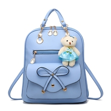 2018 Women Backpack New Spring And Summer Students Backpack Girls Korean Style Backpacks With Bear High Quality sky blue