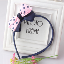MISM New Arrival Sweet Girl Bowknot Ribbon Hair Accessories Headband Bow Hair Bands Dot Styles Children Kids Headwear Wholesale