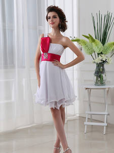 Homecoming-Dresses Graduation Formal Short Cocktail-Gown Pleat One-Shoulder Party SD017