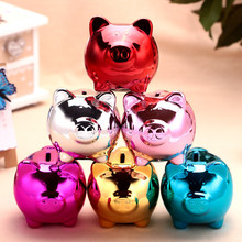 DIY Pig Moneybox 10.5*10*9cm Colorful Ceramic Large Piggy Bank For Kids Toy Home Decor Coins Saving Cofre Safe Coin Money Box(China)