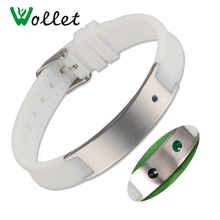 Wollet Healing Blue Crystal Germanium Tourmaline White Silicone Bracelet Sport Wristbands For Men Women