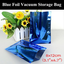 "100pcs 8x12cm (3.1""x4.7"") 180micron Small Glossy Blue Aluminum Foil Open Top Bag Heat Sealing Vacuum Zipper Blue Packaging Pouch"