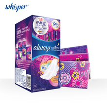 Whisper always Women Pads RADIANT Colorful Health Care Dry Surface Sanitary Napkin 300mm Night use 24 pads in 1 box Ultra Thin