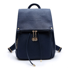 VSEN 2X PU Leather Women Backpack Casual School Bags Teenagers Girls Female Travel Back Packs Blue - Vogue so eazy now store