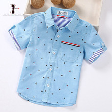 Summer Short Sleeve Boy's Shirts Casual Turn-down Collar Camisa Masculina Blouses for Children Kids Clothes 1461(China)