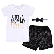3PCS /Set Cool Baby Girls Boys Clothing Sets T-shirt+ Sequins Short WITH HEADBAND Got it From my mama Summer Clothes Set 2-7T