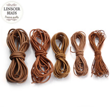 LINSOIR 5m/lot 1 1.5 2 2.5 3 4 mm Genuine Leather Cords Strings Round Beading Threads Fit Necklaces Bracelets DIY Jewelry Making(China)