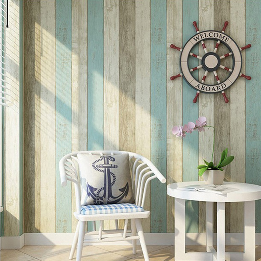 HaokHome Wood Panel Peel and Stick Wallpaper 23.6 x 19.7ft Sea Blue/Cream/Tan Self Adhesive Contact Wall Decoration <br>