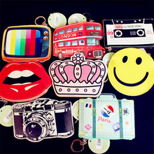 New Creative Cartoon Smiling Face Bus Camera Crown TV Lips PU Leather Zero Wallet Girls Cool Coin Purses Kids Zipper Change Bags
