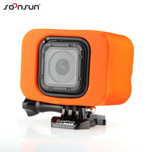 SOONSUN Water Floaty Floating Backdoor Protect Case Box for Gopro Hero 4 Session Camera Orange