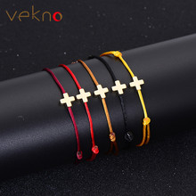 VEKNO Simple Cross Red String Bracelet Adjustable Braiding Lucky Macrame Rope Bracelets For Women Men Children Handmade Jewelry(China)