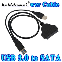 "T High Speed USB 3.0 USB3.0 to SATA 7+15 22 Pin Adapter Cable for 2.5"" Serial ATA HDD Hard Disk Drive with USB Power Cable, 44CM"
