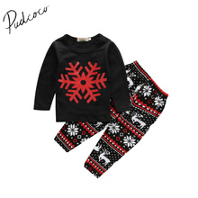 Pudcoco 1-6Y Christmas 2Pcs Toddler Kids Baby Girls Outfits Long T-Shirt Tank Top+Pants Clothes Snow Long Sleeve O-Neck Set(China)