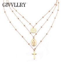 Buy GIVVLLRY Virgin Mary Pendant Necklace Women Religious Style Vintage 3 Layered Silver Gold Color Baroque Cross Chain Necklace for $2.70 in AliExpress store