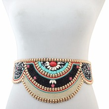 2 Colors Bohemian Charm Ethnic Elastic Strech Adjustable Belt Waist Belly Chain Inlay Natural Turquoises Body Jewelry Women