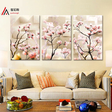 3 Piece Modular Pictures Antique Magnolia Flower Oil Painting Printed on Canvas Print Interior Home Decoration Canvas Art Framed(China)