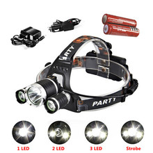 CREE XML T6 LED Headlamp 4 Modes 6000LM Waterproof Head Lamp Head Light with 2x18650 Battery and EU/US/AU/UK Charger Car Charger