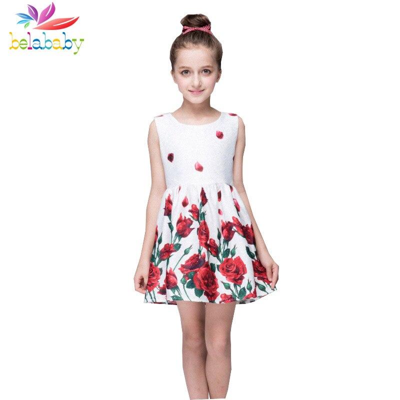 Belababy Summer Girls Flower Print Dresses 2017 New Princess Kids Floral Ball Gown Children Party Dresses For Girls<br><br>Aliexpress