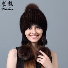 QiuMei Fox Fur Pompom Hat for Women Winter Female Hats Genuine Fur Lined Beanies Natural Mink Fur Beanie Knitted Fur Hat Women