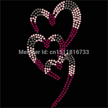 50PCS/LOT Heart with heart hotfix rhinestone transfers custom designs High Quality strass crystal for dress Wholesale