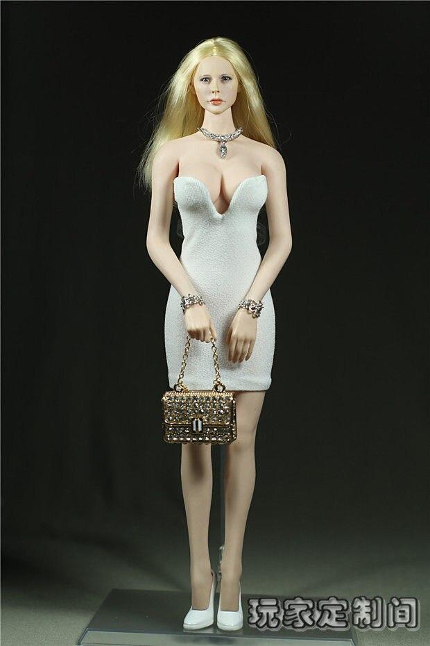 Sexy 1/6 PHICEN Dress Custom Deep V White Dress Mini Skirt For Female Seamless Body Large Bust PHICEN Doll 12 Action Figure Toy<br><br>Aliexpress