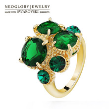 Neoglory Austria Rhinestone & Zircon Finger Ring Geometric Round Light Yellow Gold Color Palace Classic Style For Women Vintage
