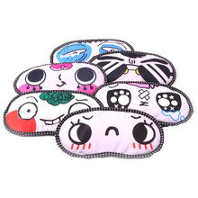 1pc Random Style Cartoon Sleeping Eye Cover Lovely Nap Eyeshade Funny Emotion Blindfold Cute Eye Mask Travel Rest Eyepatch(China)