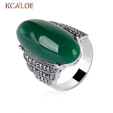 KCALOE Antique Silver Color Green Stones Ring Red Onyx Yellow Natural Stone Rings Black Rhinestone Vintage Jewelry