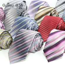 New Fashion Striped ties For men 7cm width Classic Mens Neckties For Business Party Groom Neckwear polyester Microfiber Tie(China)