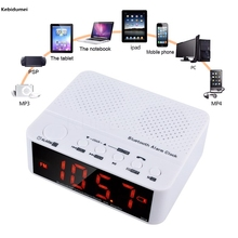 Kebidumei Wireless Mini Clock Alarm Bluetooth V2.1 Speaker with LED Time Display FM Radio TF Reader For Computer Mobile Phone PC(China)