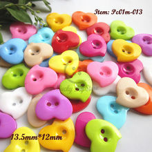 200pcs 13.5mm Mixed color heart plastic buttons child buttons for decoration / sewing / craft / scrapbook accessories wholesale