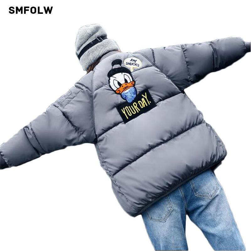 SMFOLW Winter Women Padded Cotton Coats Embroidery Cartoon Cute Parkas Short Design Warm Overcoats Bread Loose Style CoatsÎäåæäà è àêñåññóàðû<br><br>