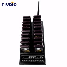 TIVDIO Wireless Pager Restaurant 20 Coaster System Waiter Paging Queuing Rechargeable Battery Pager Restaurant Equipment F9401(China)