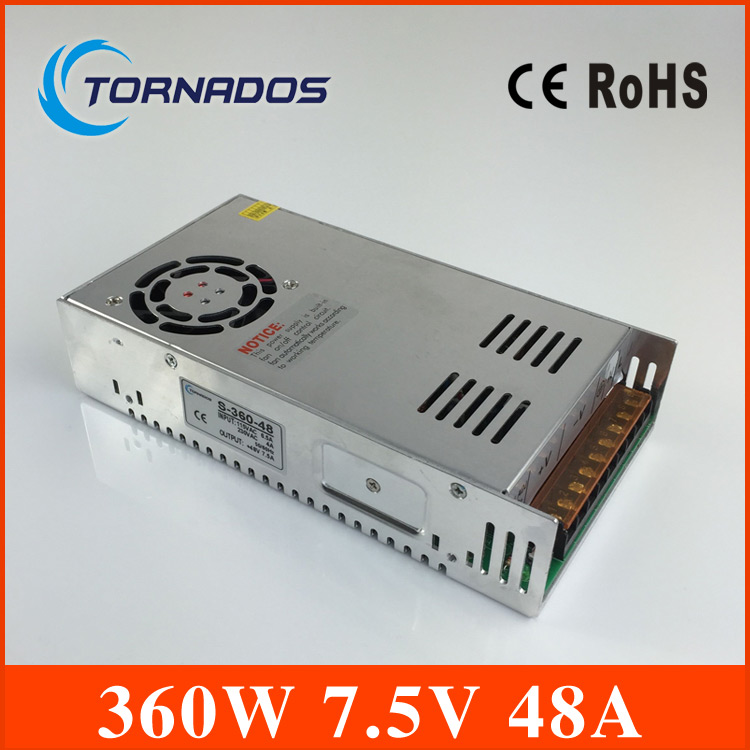 Led driver 7.5V 48A 360W Single Output ac 110v 220v to dc 7.5v Switching power supply unit for LED Strip light 7.5v transformer<br>