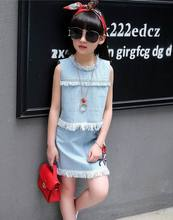 Retail summer 2017 denim T shirt skirt suit Childrens clothing sleeveless rose embroidery Free Necklace Kids Clothes X78452