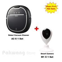 Wifi App Baby/Pet Monitor Smart Camera And A3 Wet and Dry Schedule 750ml dustbin Robot Vacuum Cleaner for home(China)