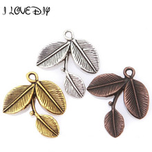 20 Pcs Antique Silver/Gold Alloy Finding Leaves Shape Charms Pendants 27x23mm