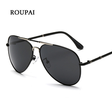ROUPAI Men's Sunglasses Famous Brand Polarized Lenses UV400 Protection Black Aviator Sunglasses Alloy Frame Metal Sunglases Man