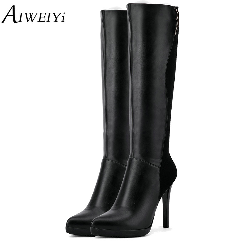 AIWEIYi 2018 Handmade Over The Knee Boots Soft PU Leather Thin High Heel Black Zip Long Boots Motorcycle Botas Shoes Woman<br>