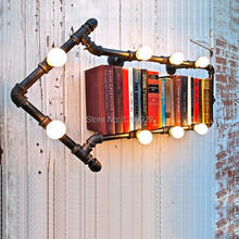 2015 New Arandelas De Parede Wall Sconce Light Loft American  Wall Personalized Water Pipe Lamp Vintage Bookshelf Lights WLL-145