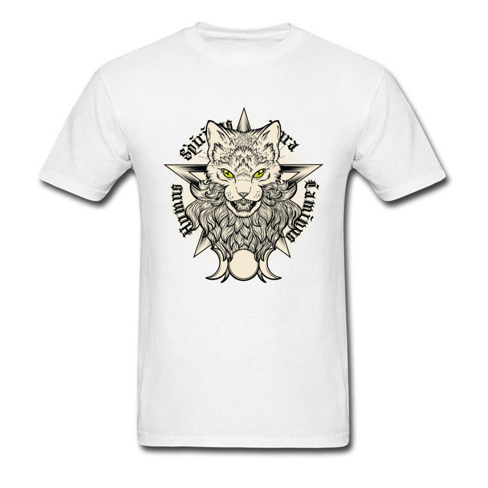 Wiccat O-Neck Top T-shirts Fall Tops Shirt Short Sleeve Company 100% Cotton Design Top T-shirts Leisure Men Wholesale Wiccat white