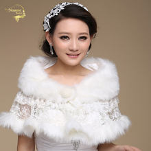 Wedding Bolero Outerwear Wedding Accessories  Urged Wrap Bride Formal Winter Cape Bride Fur Shawl Wedding Jackets Wrap OJ00185